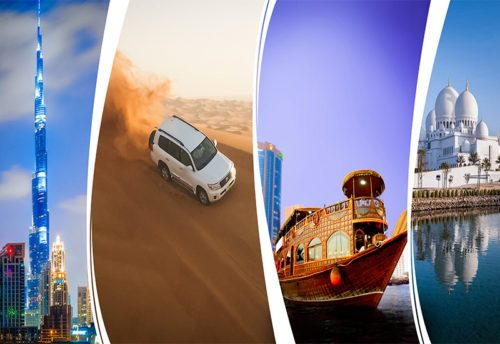 Abu Dhabi + Dubai City Tour + Desert Safari + Marina Dhow Cruise Dinner