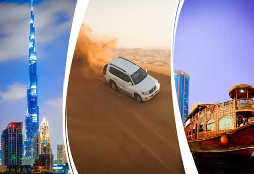Dubai City Tour + Desert Safari + Dhow Cruise Dinner Combo Offer