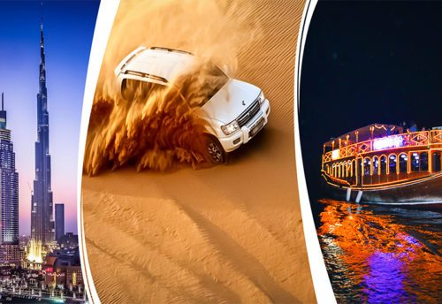 Dubai City Tour + Desert Safari + Marina Dhow Cruise Dinner